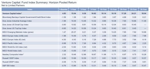 Venture Capital - Fund Index Summary - Horizon Pooled Return